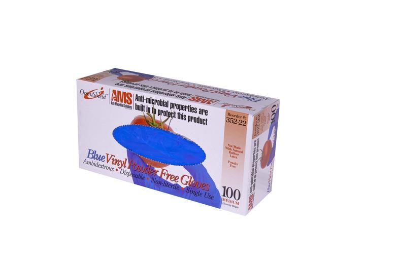 OmniShield AMS #352 Series Blue Multi-Purpose Vinyl Gloves