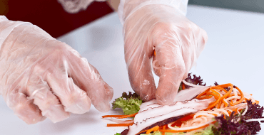 Omni International Corp. AMS technology Anti-Microbial Solutions vinyl gloves nitrile gloves food service gloves disposable gloves sushi restaurant photo