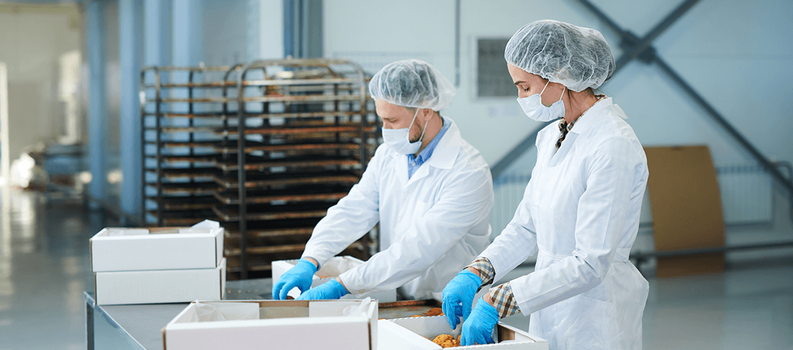 A Brief Guide to PPE Gloves & What Omni Has to Offer food processing blue gloves disposable gloves confection factory